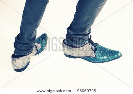 Close up of strange shoes in studio