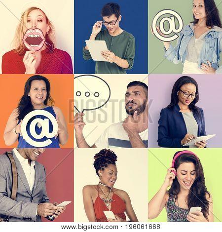 Set of Diverse People Communication Studio Collage