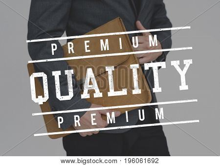 Business People with Premium Quality Guarantee Stamp Word Graphic