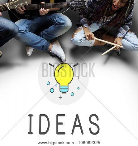 Ideas Light Bulb Think Create Graphic Word
