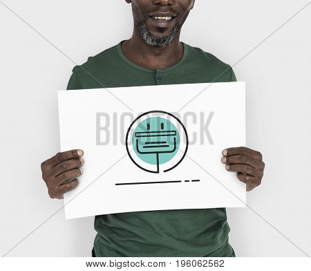 Man holding network graphic overlay billboard