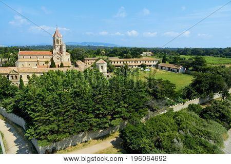 aerial view of the Lerins Abbey in the Saint-Honorat island, France