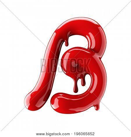 Leaky red alphabet isolated on white background. Handwritten cursive letter B. 3d rendering