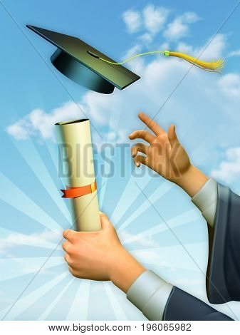 Graduate holding up diploma and celebrating. 3D illustration.