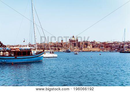Mediterranean traditional colorful boats in Malta