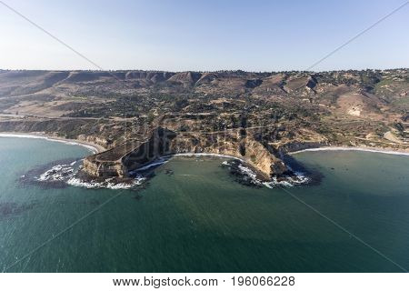 Aerial view of Sacred Cove at Abalone Cove Shoreline Park in Rancho Palos Verdes near Los Angeles, California.