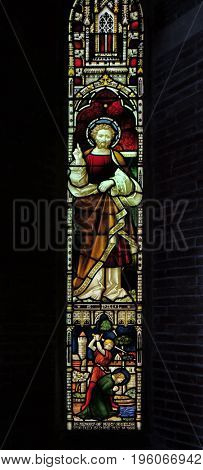 ROME, ITALY - SEPTEMBER 02: Saint Paul on the stained glass of All Saints' Anglican Church, Rome, Italy on September 02, 2016.