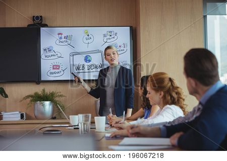 Businesswoman discussing with colleagues over whiteboard during meeting in board room