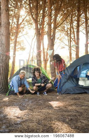 Happy man with friends setting up tent on field at countryside