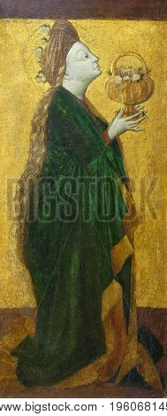 ZAGREB, CROATIA - FEBRUARY 17: St. Elisabeth, the altarpiece from the parish church of St. Vitus in Vrbovec, Zagreb, Croatia on February 17, 2015.