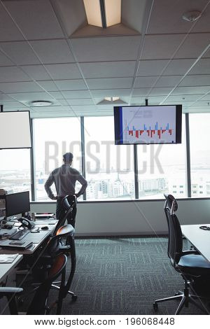 Businessman standing with hands on hip against window at office