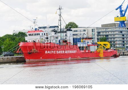 Rostock, Germany-July 14, 2017: The Baltic Diver Germany rescue ship
