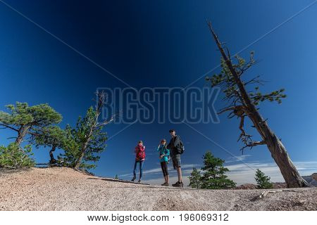 Hikers friends stand at the Bryce Canyon National Park, USA