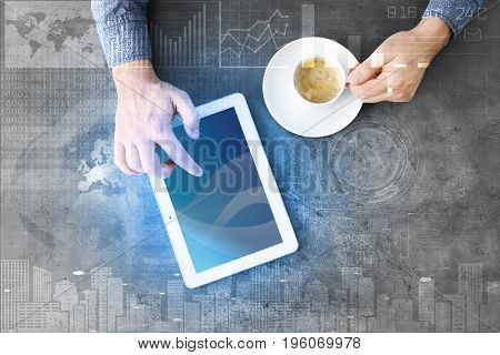 Concept of management information systems. Man using tablet at table