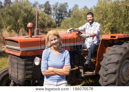Portrait of happy couple in farm on a sunny day