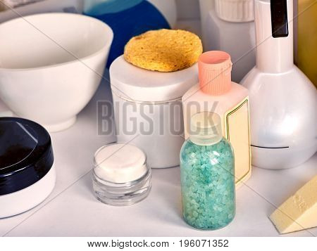 Cosmetics packaging for face and body care containers. Still-life from cosmetic products and rejuvenating creams.