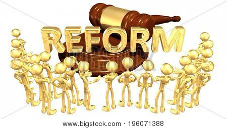 Reform Legal Concept With The Original 3D Characters Illustration