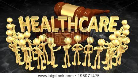 Healthcare Law Concept With The Original 3D Characters Illustration