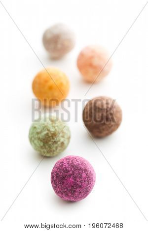 Sweet truffle balls isolated on white background.
