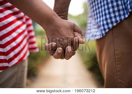 Cropped image of senior couple holding hands while standing in yard