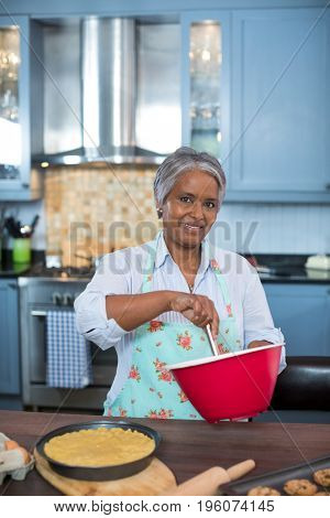 Portrait of senior woman preparing food while standing in kitchen at home