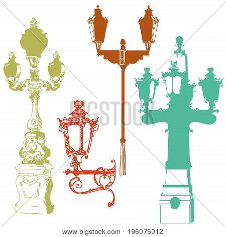 Set of ancient lanterns isolated vector hand drawing illustration in different colors on white background
