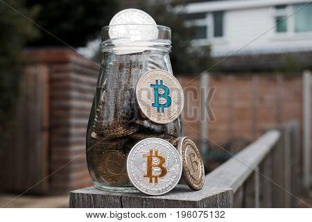 Silver And Gold Bitcoin Coin