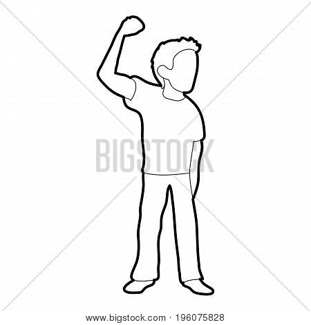 Riot of man icon in outline style isolated on white vector illustration