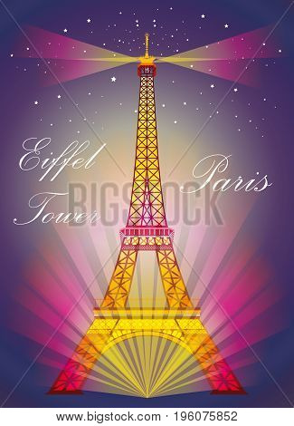 Vector Illustration: Colorful Eiffel tower in night with spotlights and srars on blue and purple background