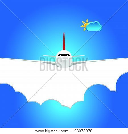 airplane flight speed illustration in colorful blue background