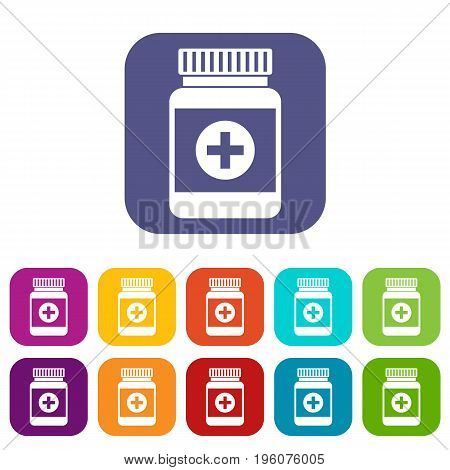 Medicine bottle icons set vector illustration in flat style in colors red, blue, green, and other
