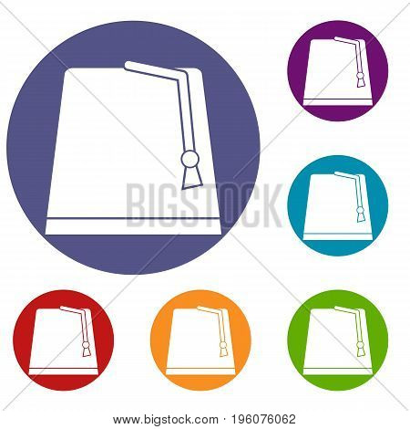 Turkish fez icons set in flat circle red, blue and green color for web