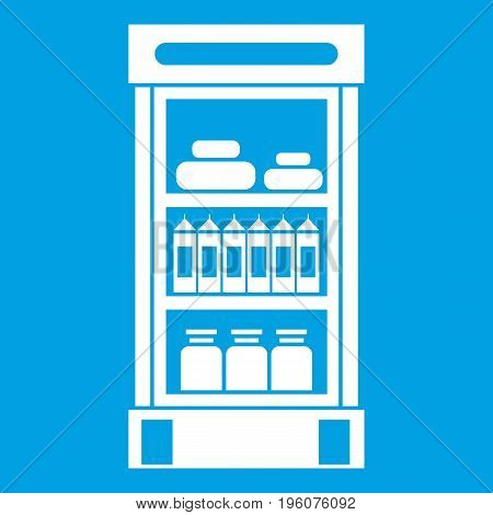 Products in the supermarket refrigerator icon white isolated on blue background vector illustration