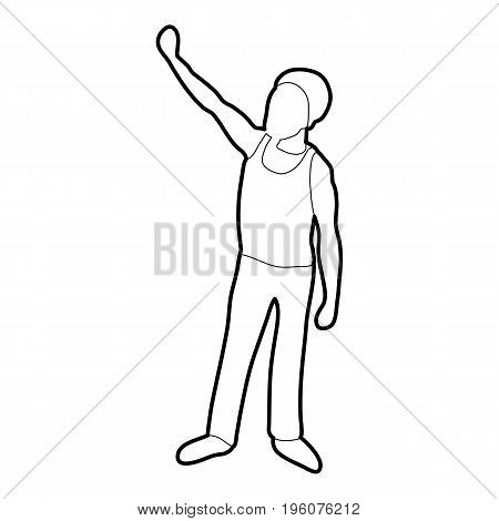 Man protest on the street icon in outline style isolated on white vector illustration