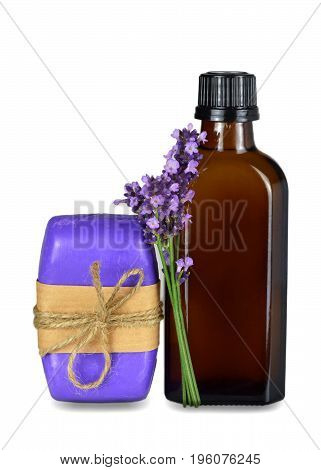 Lavender essential oil and soap bar isolated on white background