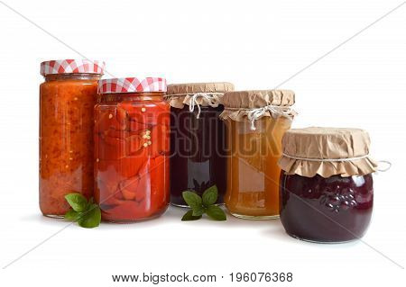 Preserves in the jars isolated on white background