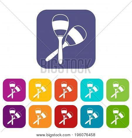 Maracas icons set vector illustration in flat style in colors red, blue, green, and other