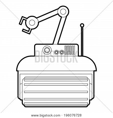 Robot crane icon in outline style isolated on white vector illustration