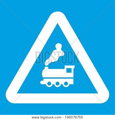 Warning sign railway crossing without barrier icon white isolated on blue background vector illustration
