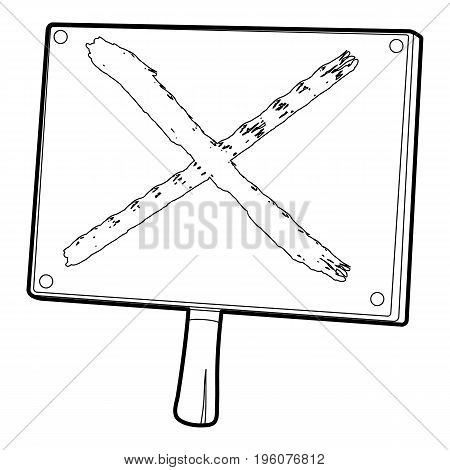 Cross sign icon in outline style isolated on white vector illustration