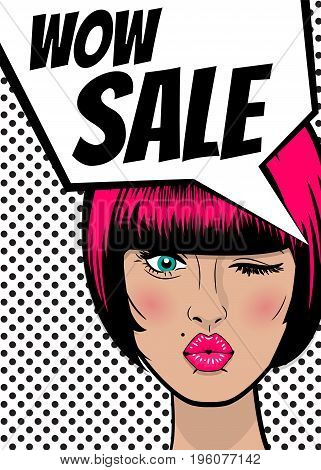 WOW Sale. Pop art sexy woman advertise vintage poster. Comic book text balloon speech bubble. Discount banner vector retro illustration. Girl comic wow face surprised marketing special offer.