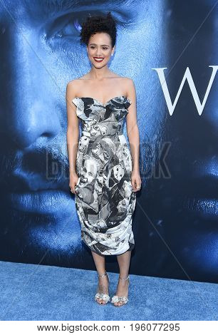 LOS ANGELES - JUL 12:  Nathalie Emmanuel arrives for the Season 8 premiere of HBO's 'Game of Thrones' on July 12, 2017 in Los Angeles, CA