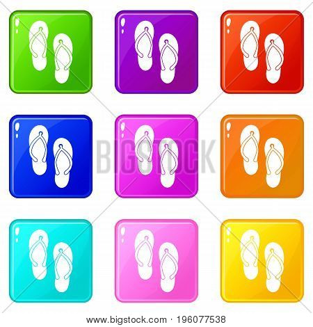 Beach thongs icons of 9 color set isolated vector illustration