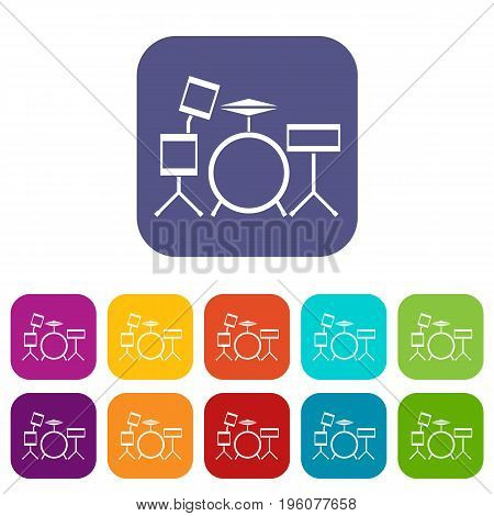 Drum kit icons set vector illustration in flat style in colors red, blue, green, and other