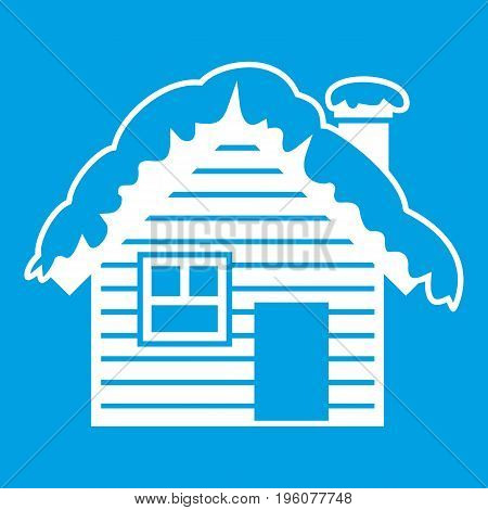 Wooden house covered with snow icon white isolated on blue background vector illustration