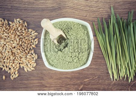Vintage Photo, Heap Of Young Powder Barley, Barley Grass And Grain On Wooden Board