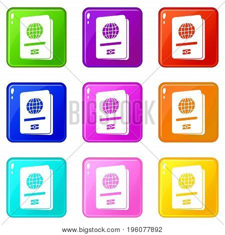 Passport icons of 9 color set isolated vector illustration