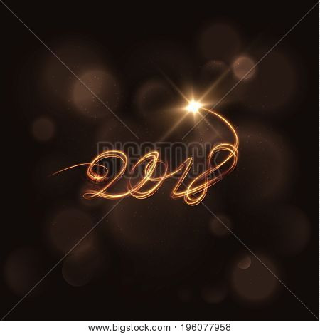 2018 New year background, light trail text. Vector EPS10
