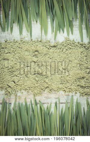Vintage Photo, Barley Grass And Heap Of Young Powder Barley, Body Detox Concept