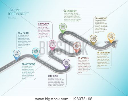 Isometric navigation map infographic 8 steps timeline concept. Winding road. Vector illustration.